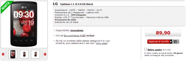 LG Optimus L1 II arriva nel listino MediaWorld a 89€