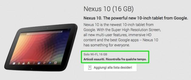 Nexus 10 16GB esaurito nel Play Store americano, novità in arrivo?