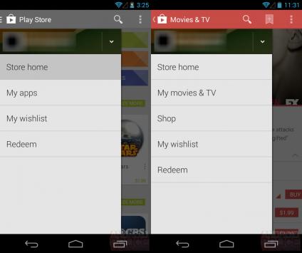 Prime immagini per il Play Store 4.4: introdotti i menu slide