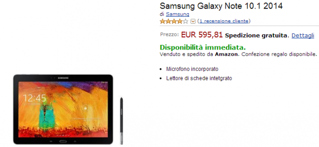 Samsung Galaxy Note 10.1 2014 Edition disponibile su Amazon.it a 595€
