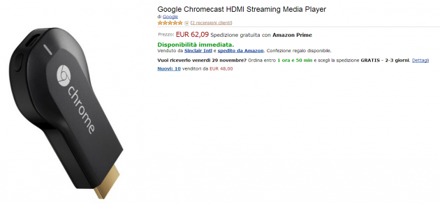 Google Chromecast in vendita su Amazon.it a 62 Euro