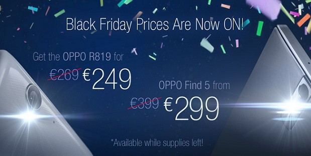 Oppo apre il Black Friday con sconti per Find 5 ed R819