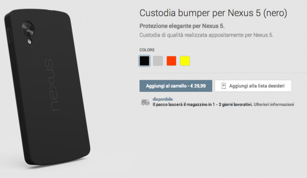 Google Nexus 5: disponibili i bumper sul Play Store [UPDATE: Quick Cover]