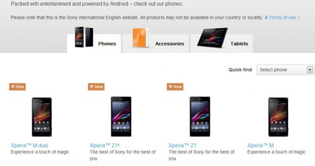 Sony Xperia Z1s: breve apparizione sul sito ufficiale di Sony