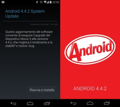 Android 4.4.2 disponibile per Nexus 5 e Nexus 4 [Update: OTA anche per Nexus 7 e Nexus 10]