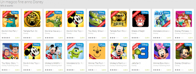 Grandi sconti Disney sul Google Play Store