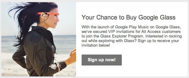 Gli abbonati a Google Play Music All Access vengono invitati a comprare Google Glass