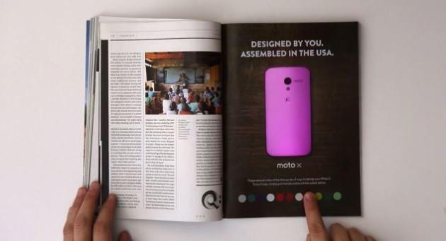 Motorola Moto X, pubblicità touch sul magazine Wired