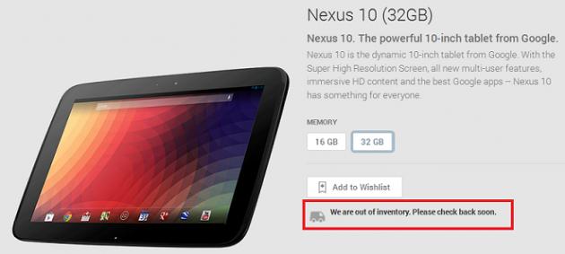 Nexus 10 32GB e 16GB esauriti sul Google Play Store: è in arrivo il nuovo 10