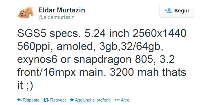 Twitter   eldarmurtazin  SGS5 specs. 5.24 inch 2560x1440 ...