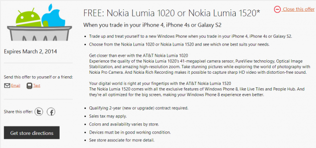 Microsoft offre Lumia in cambio di Galaxy S2 e iPhone 4/4S negli USA