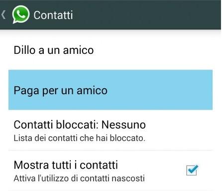 paga per un amico whatsapp messenger beta