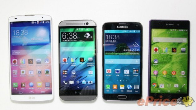 LG G Pro 2 vs Samsung Galaxy S5 vs HTC One M8 vs Sony Xperia Z2: confronto tra dimensioni e display