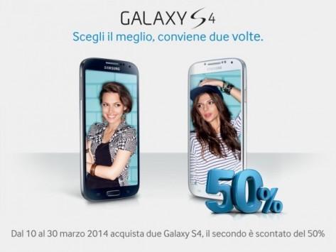 Samsung Galaxy S4 conviene due volte: sconto del 50% sul secondo GS4 se ne acquistate due