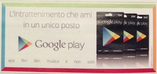 Google Play Gift Cards fanno una prima apparizione sul volantino Esselunga