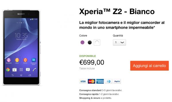 Sony Xperia Z2 disponibile ufficialmente in Italia