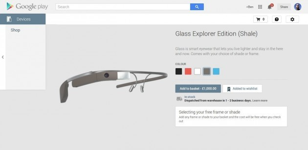 Google Glass ora disponibili in UK a 1000£