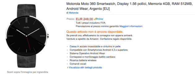Motorola Moto 360 disponibile su Amazon.it [PREORDINE]