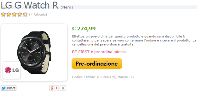 LG G Watch R appare su Expansys.it in pre-ordine a 279€