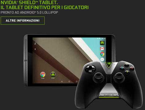 Nvidia Shield Tablet riceverà presto Android 5.0 Lollipop