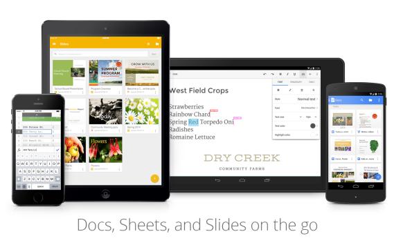 Google aggiorna le applicazioni Documenti, Fogli e Presentazioni