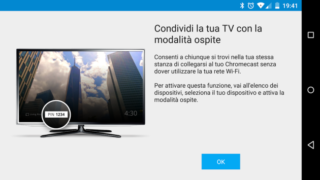 Chromecast: Material Design, Screen Cast e modalità ospite