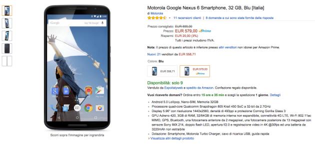 Motorola Nexus 6 disponibile su Amazon.it, spedizione Prime