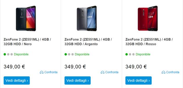 Asus Zenfone 2, ecco i prezzi italiani: da 179 a 349 Euro
