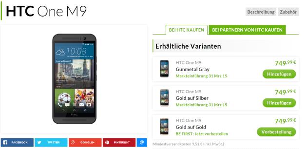 HTC One M9 disponibile in preordine in Germania a 749 Euro