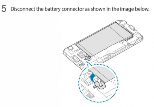 Samsung Galaxy S6, sul manuale d'uso le istruzioni per rimuovere la batteria
