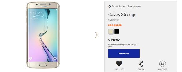 Samsung Galaxy S6 e Galaxy S6 Edge, preordini al via in Olanda: prezzi da 699 a 1049 Euro