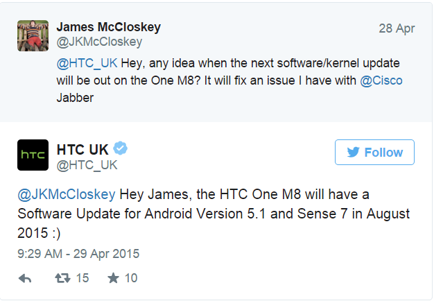 HTC says Android 5.1 Lollipop  Sense 7 UI for the One  M8  are due out this August