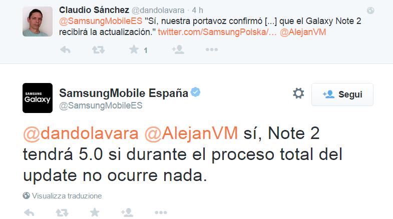 SamsungMobile España su Twitter    dandolavara  AlejanVM sí  Note 2 tendrá 5.0 si durante el proceso total del update no ocurre nada.