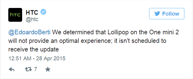 The one year old HTC One Mini 2 won't be getting Lollipop