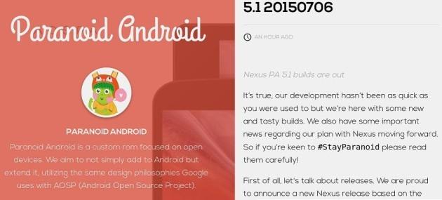 La Paranoid Android 5.1 è finalmente realtà: disponibile per device Nexus