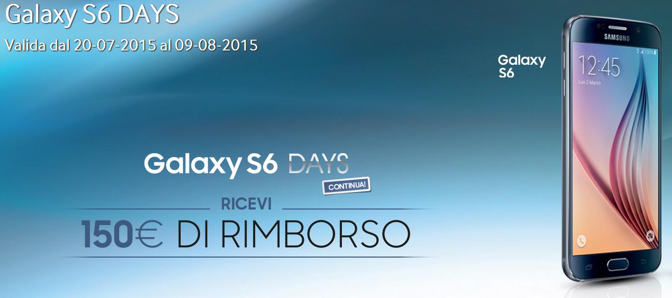 Samsung galaxy s6 days continua rimborso di 150 euro su for Cellulari 150 euro
