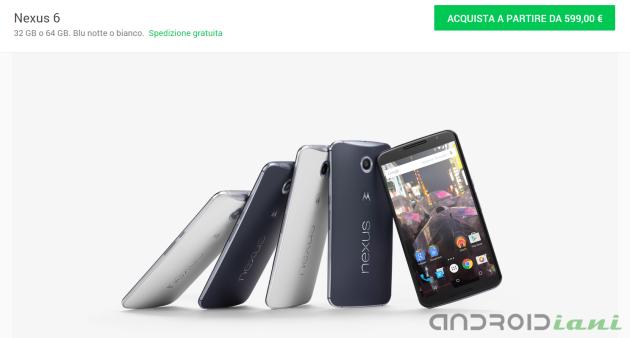 Nexus 6, il prezzo torna a salire: su Google Store a 599 Euro