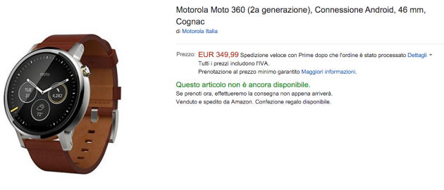 Motorola Moto 360 2015 disponibile in preordine su Amazon Italia