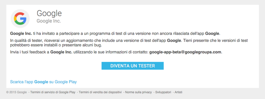 Beta-Test dell'app Google