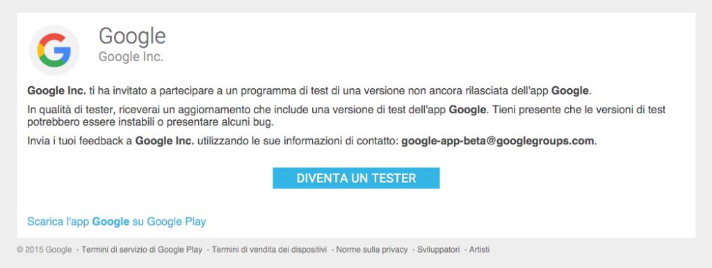 app Google Beta Tester