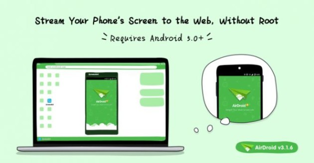AirDroid si aggiorna e porta il mirroring del display su web
