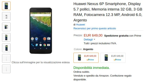 Huawei Nexus 6P disponibile su Amazon Italia a 649€