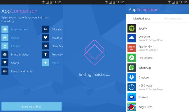 Microsoft AppComparison aiuta gli utenti a passare da Android a Windows Phone