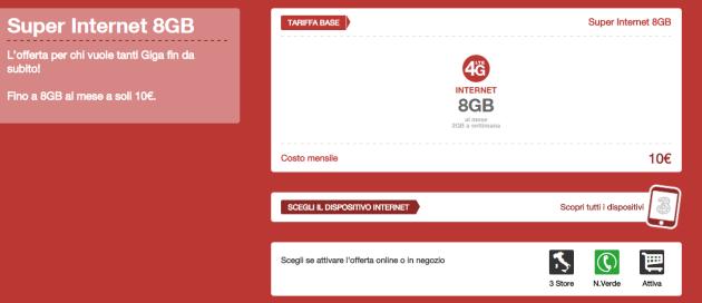 3 Italia, ecco la nuova Super Internet: 8 GB a 10 euro ogni 4 settimane