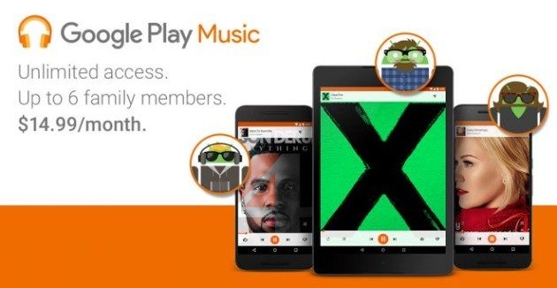 Google Play Music Family Plan: nuovo abbonamento mensile da 14.99$ per gli Stati Uniti