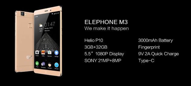 Elephone M3 annunciato insieme alla fotocamera EXPLORER Pro Action