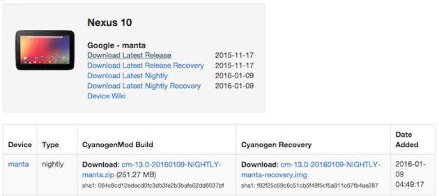 Nexus 10 riceve Android Marshmallow con il supporto a CyanogenMod 13