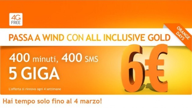 Wind All Inclusive Gold: 400 minuti ed SMS più 5 GB a soli 6€