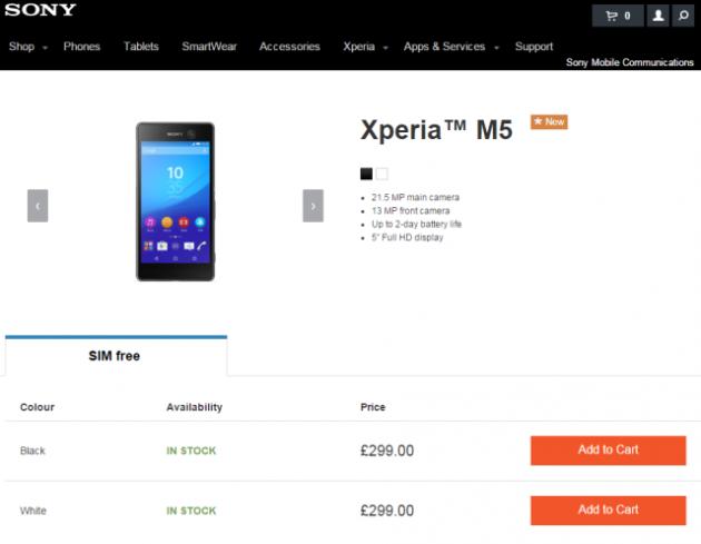 Xperia M5 appare negli store Sony europei