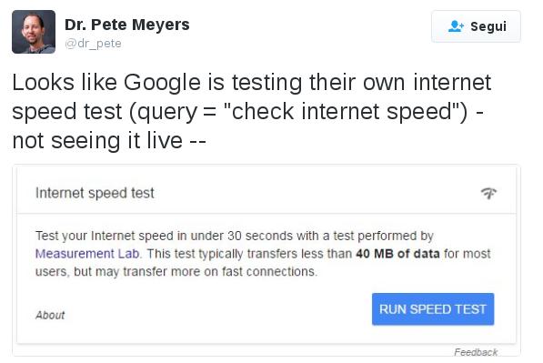 Google sta lavorando su un proprio test di velocità internet